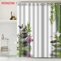 tecidos florais para cortinas venda por atacado-Eco-friendly de bambu tecido de poliéster de pedra Shower Curtain Cenário decoração do banheiro à prova d'água Cortina De Bano Com 12 Hooks presente