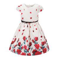 rosas rojas naturales al por mayor-Tween Girls Floral Party Dress tamaño 3 ~ 12 Princesa rosas rojas patrón de vestidos para niños tejido Jacquard Pretty Clothing alta calidad