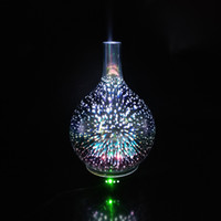 Wholesale incense oil diffuser - Ultrasonic Aromatherapy Mist Diffuser with Starry Sky Firework Vase Shape 3D Effective Glass Cover Essential Oil Diffuser