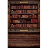 ingrosso scuola di sfondo-Fondali in legno vintage Fotografia Fondali in digitale stampato in biblioteca Biblioteca in stile retrò per interni in studio fotografico Sfondi pavimento in legno