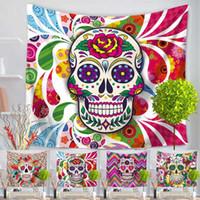 Wholesale Map Decorations - 55 Colors Map Flamingo Mandala Buddha Horus Sugar Skull Polyester Tapestry Fresco Yoga Beach Blanket Towel Home Decoration Drop Shipping