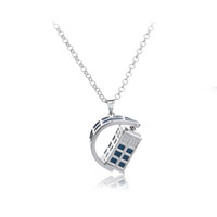 Wholesale newest movies - 2018 Newest jewelry Design Movie Doctor Who Blue Drip Oil Necklace Creativity Rotating Pendant Necklace For Women and Men ZJ-0903233