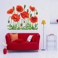 decalque da flor para a sala de visitas venda por atacado-Adesivo de parede DIY Decoração de Casa Flor Vermelha Decalque Removível Living Room Art Mural Decoração