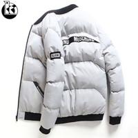 yeni moda korean kış mens toptan satış-Yeni Kore Moda Yakışıklı Kısa Paragraf Kış Ceket Erkekler Rahat Ince Düz Renk Standı Yaka Uzun Kollu Kış Ceket Mens