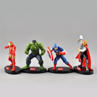 super heróis da novidade venda por atacado-Os Vingadores 4 pcs Em Um Conjunto Ultimate Super Hero Capitão América Novidade Itens Com Pedestal Ornament Toy 12 33dh W