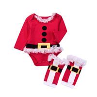 leggings de navidad para niños al por mayor-Niñas bebés de Navidad mameluco infantil Santa Claus monos con leggings calcetines 2018 otoño moda Boutique Navidad niños escalada ropa C5018