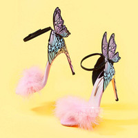 Wholesale zip up dresses - Sophia Webster Summer Winged Butterfly Party Thin High Heeled Sandals 2018 Pink Fur Female Wedding Sandals Multi Color Dress Prom Sandals