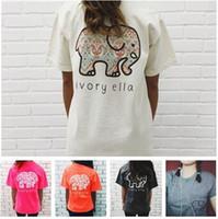 Wholesale fashion elephant - Ivor Elle Women Girls T-shirt Blended Cotton Elephant Print Woman Shirts Trend Brand Woman Tees Gray Pink White Black Tops T150