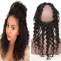 """Wholesale Factory Direct Parts - Frontal Baby Hair 22.5x4x2"""" Deep Wave 1b color Pre Plucked 360 Lace Frontal Closure With Baby Hair Factory Direct Supply"""