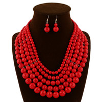 Wholesale Costume Jewelry Long Necklaces - Costume Jewelry Set Long Beads Necklaces & Pendants Multi Layer Maxi Necklace Women Wedding Accessories Party Gift