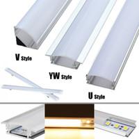 yeni güneş ledli ışıklar toptan satış-30 cm U / V / YW Tarzı Şekilli LED Bar Işıkları Alüminyum Kanal Tutucu Süt Kapak Sonu Aydınlatma Aksesuarları Için LED Şerit Işık Yeni
