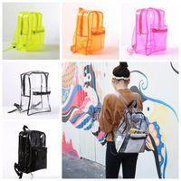 Wholesale ladies book bags - Transparent Jelly PVC Backpack Girls School Book Bag Waterproof Outdoor Storage Shoulders Bag 5 Colors OOA5157