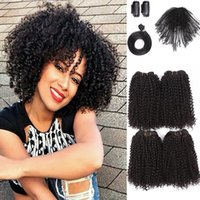 Wholesale synthetic curly hair wefts - Synthetic Hair 5 bundles with closure afro kinky curly small mini curl hair wefts for black women jerry curly weaves uk usa nigeria