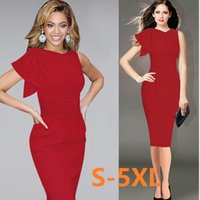 Wholesale celebs slim dress - S-5XL Womens Celeb Elegant Ruffle Sleeve Ruched Evening Party Wear To Work Fitted Stretch Slim Wiggle Pencil Sheath Bodycon Dress