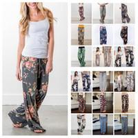 Wholesale yoga pant pattern free for sale - 28 color Floral Yoga Fitness Wide Leg Pant Women Casual sports Pants Fashion Harem Pants Palazzo Capris Lady Trousers Loose Long pants