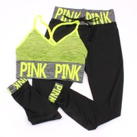 Wholesale quick dry yoga pants online - Pink Letter Print Tracksuits Women Sport Suit Sets Two Piece Set pink Outfits Tracksuit Sportswear Tracksuit Pattern Bra Ninth Pant color