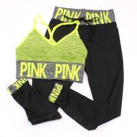 hosenanzug bh großhandel-Pink Letter Print Trainingsanzüge Frauen Sport Anzug Sets Zwei Stück Set rosa Outfits Trainingsanzug Sportswear Trainingsanzug Muster BH + Neunte Hose 4 Farbe