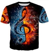ropa estilo rock al por mayor-New Fashion Rock Style Camiseta DJ Disco Music and Guitar Print 3D Camiseta Neutral Hombre / Mujer Ropa Casual S-XXXXXXL U189