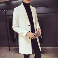 Wholesale white wool trench - Wholesale- Male medium-long trench 2017 autumn and winter slim thin outerwear wool coat men's clothing