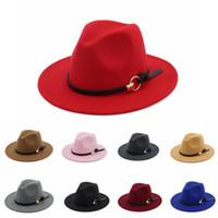 geniş ağızlı panama şapkası toptan satış-Beyefendi Yün Geniş Ağız Caz Için erkek Fötr Şapka Kilise Kap Bant Geniş Düz Ağız Caz Şapka Şık Fötr Panama Caps EEA72