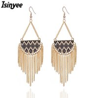 серьги заявление кисточкой оптовых-ISINYEE Fashion Chain Tassel Earrings For Women Enamel Geometric Hanging Earring Trendy Gold Bohemian Statement Jewelry Brinco