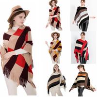 envuelve cardigans al por mayor-Plaid Poncho Stripes Scarf Tassel Wraps Mujeres Vintage de punto Tartan Winter Cape Grid chal Rebeca Mantas capa capa suéter cabo GGA781