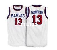 kansas basketball großhandel-Männer # 13 Wilt Chamberlain Kansas Jayhawks KU College-Trikot Größe S-4XL oder benutzerdefinierte jeder Name oder Nummer Jersey