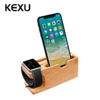 telefone base iphone venda por atacado-Venda por atacado estação de carregamento de madeira dock para suporte do telefone móvel suporte de base de suporte do carregador de bambu para a apple watch e para iphone xiaomi