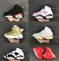 zapatos juveniles para niños al por mayor-Zapatillas de baloncesto para niños Niños 6 Zapatillas deportivas doradas metálicas Niños Niñas Jóvenes Oreo Zapatillas deportivas infrarrojas negras Baratas para la venta