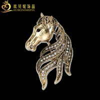 broche de oro del caballo al por mayor-OBN Fashion Vintage Silver / Gold Rhinestone Horse Head Broche Pin Broches para mujeres