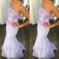 Wholesale strapless chiffon bridesmaid dress bead online - Bridesmaid Dresses For Weddings Lavender Strapless Lace Applique Sash Chiffon Mermaid Long Plus Size Maid Of Honor Wedding Guest Dress