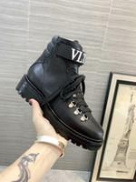 tam tahıllı deri ayakkabılar toptan satış-2019 Güz Kış Yeni kadın Şövalye Boots Flats Tam Tahıl Deri Kısa Martin Patik Kar Ayakkabıları