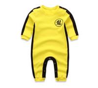 traje de niño chino al por mayor-2018 NUEVO Baby Boys Clothes Romper Chinese Kong Fu Infant Jumpsuit Hero Bruce Lee Newborn Baby Costume Climbing Clothes