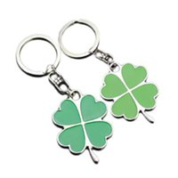yapraklı yonca anahtarlık toptan satış-Yeşil Yaprak petal Anahtarlık Dört Yapraklı Yonca Şanslı Anahtarlık Takı Anahtarlık