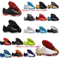 Wholesale original indoor shoes online - 2016 cheap Tiempo Totti X Roma FG original soccer cleats Tiempo Legend VII FG low top soccer shoes mens authentic football boots Golden