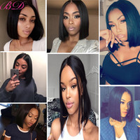 Wholesale hot lace fronts for sale - Group buy Hot Selling Peruvian StraightHair Swiss Lace Front Bob Wigs AdjustablePure HandmadeLace Frontal Human Hair Average Size Wig