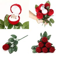 Wholesale valentine ring rose for sale - Jewelry Storage Boxes Red Gift Display Valentines Day Love Bride Accessories Rose Ring Ear Nail New High Grade Propose hy V