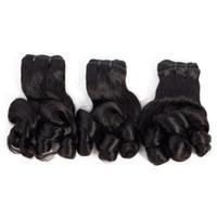 malezya funmi saç toptan satış-9A Funmi Saç Demetleri Gül Kıvırcık Bakire Brezilyalı Hint Perulu Malezya Saç Demetleri 10-20 inç İnsan Saç Uzantıları Doğal Renk 3 Adet