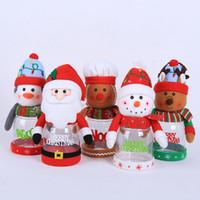 şeker kavanozu dekorasyonu toptan satış-2019 Noel şeker kavanoz Şeffaf plastik şeker kutusu Santa kardan adam elk Noel süslemeleri çocuk küçük hediyeler