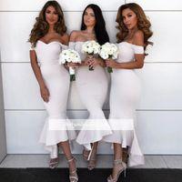 Wholesale vestidos fiesta wedding dresses resale online - 2018 Sexy Off Shoulder Cheap Mermaid Bridesmaid Dresses Hi Lo Formal Maid of Honor Dresses Wedding Party Gowns Vestidos de fiesta largos