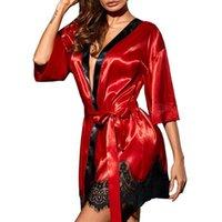 ingrosso abito di lingerie floreale-Donne Floral Sleepwear Robe Ciglia Aperte Anteriore Lingerie Camicia da notte Lace Trim Kimono EY
