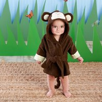 neugeborene wickeltücher großhandel-Affe Newborn Bademantel Brown Baby Badetücher Kinder Kapuzen Strandtuch Newborn Blankets Hoodie Badetuch Wrap Umschlag