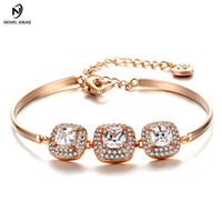 joyas de estilo ol al por mayor-OL Style Square Cut Cubic Zirconia Charm Bracelets Bangles Silver / Rose Gold Color Fashion Jewelry For Women