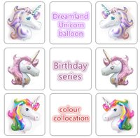 Wholesale Large Horse - Coloured Unicorn balloon Large aluminum film single horned horse decoration Birthday Floating air Single horned head balloon T4H0296