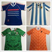 maillots argentins achat en gros de-1988 Frances Argentine Mexique Pays-Bas version rétro maillot VINTAGE CLASSIC Blanco Campos Maillots de football ZIDANE HENRY