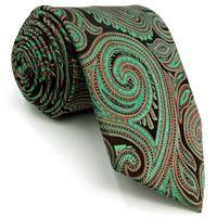ingrosso cravatta di nozze turchese-D24 Red Turquoise Paisley Mens Necktie Silk Jacquard Woven Wedding Extra long size 63