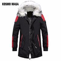 черный мех с капюшоном длинный parka оптовых-KOSMO MASA Black Long Man Winter Jacket Men Warm  Fur Hooded 2018 Mens Jackets And Coats Zipper Down Men Parkas MP029