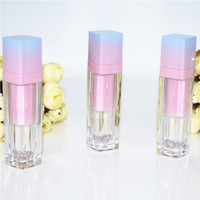 lápices labiales líquidos azules al por mayor-200 unids / lote Square Empty Lip Gloss Tube Gradient Pink Blue Plastic Elegante Lápiz Labial Líquido Cosmético Contenedores 5 ml Muestra