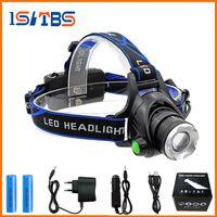 Wholesale head flashlight waterproof - Rechargeable CREE XML T6 5000Lumens Zoom Head Lamp torch LED Headlamp + 18650 Battery Headlight Flashlight Lantern night fishing