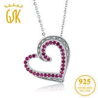 подвеска с бриллиантовой формой оптовых-GemStoneKing Beautiful Heart Shape Created Ruby & Accent Diamond Pendant Necklace 925 Sterling Silver Jewelry For Women